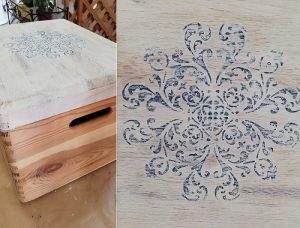 stencil sulla scatola in legno naturale